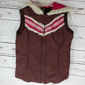 Free people vest wool trim size large knit back